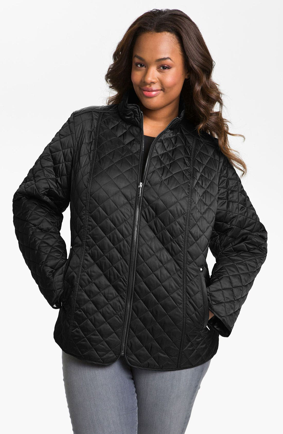 Main Image - Laundry by Shelli Segal Quilted Zip Jacket (Plus)