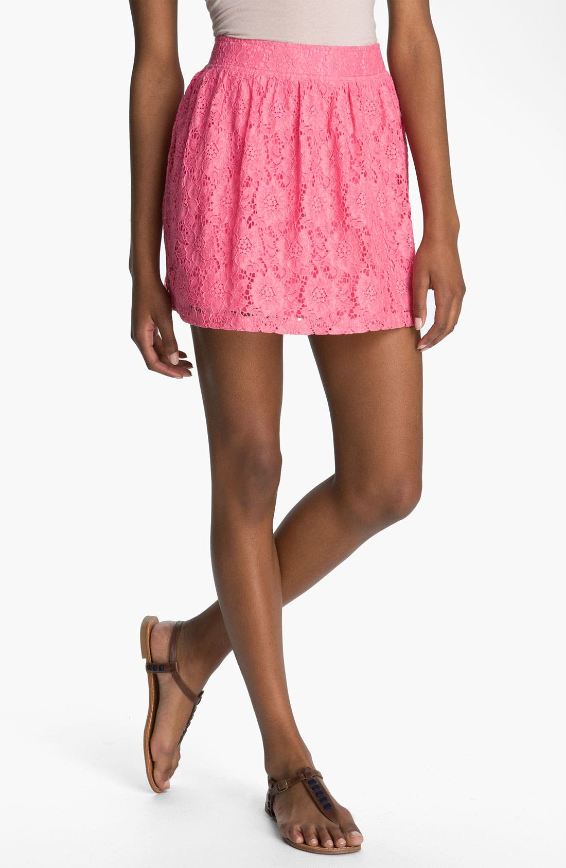 Alternate Image 1 Selected - Frenchi® Lace Skirt (Juniors)