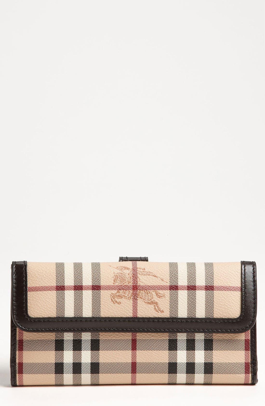 'Haymarket Check' Checkbook Wallet,                         Main,                         color, Chocolate
