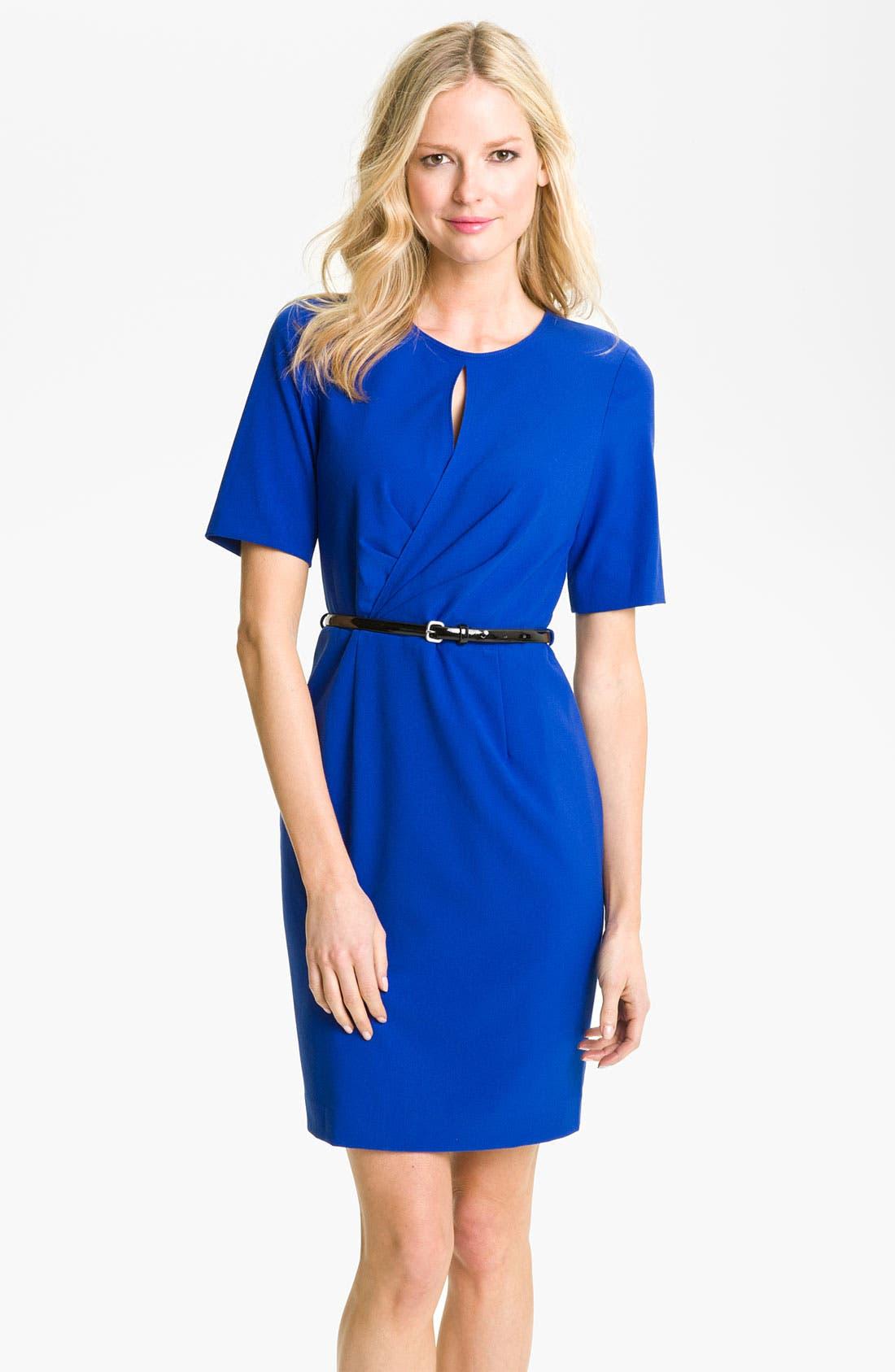 Alternate Image 1 Selected - Calvin Klein Belted Keyhole Sheath Dress