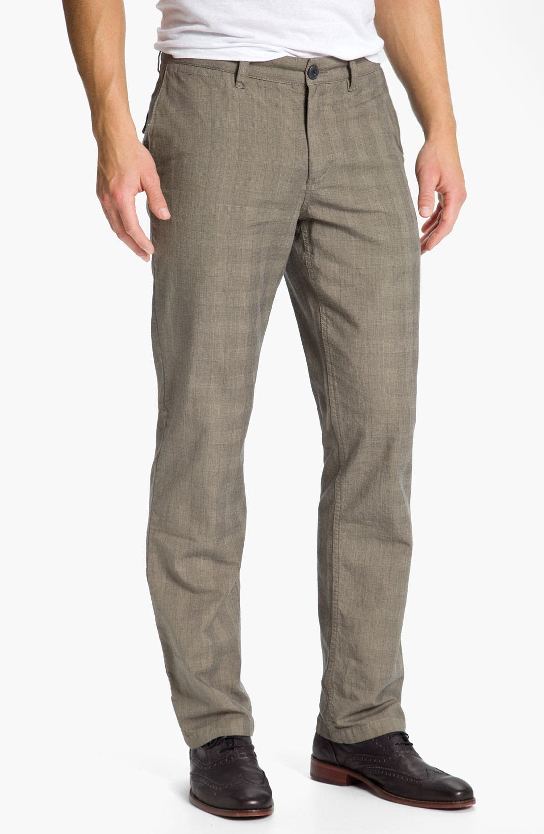 Main Image - 1901 Glen Plaid Straight Leg Chinos