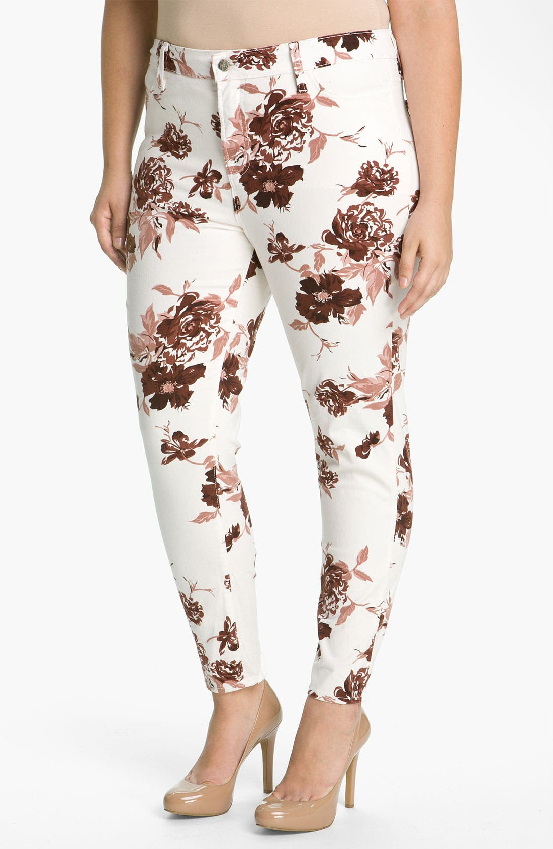 Main Image - Blue Essence Floral Stretch Twill Jeans (Plus)