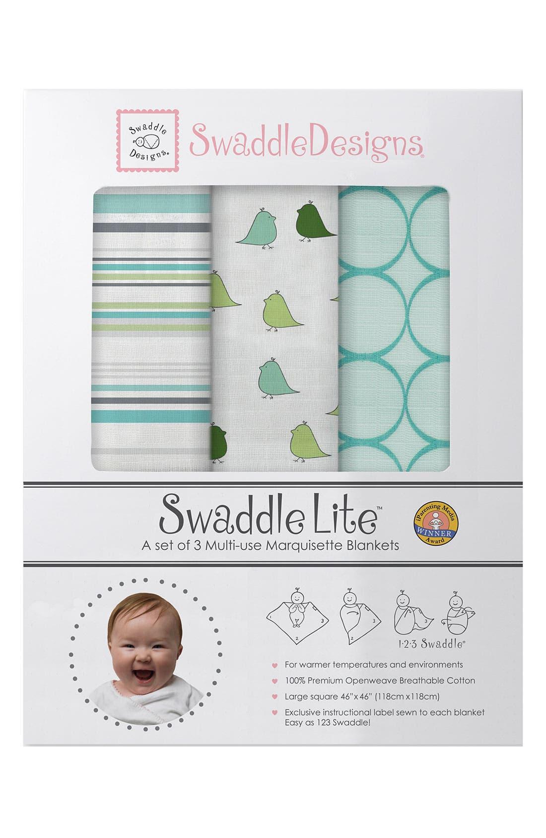 Alternate Image 1 Selected - Swaddle Designs 'Swaddle Lite' Marquisette Blanket (Set of 3)