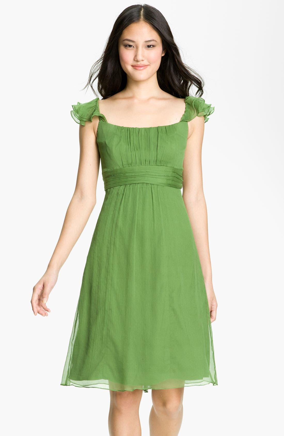 Alternate Image 1 Selected - Amsale Ruffle Sleeve Empire Waist Silk Chiffon Dress
