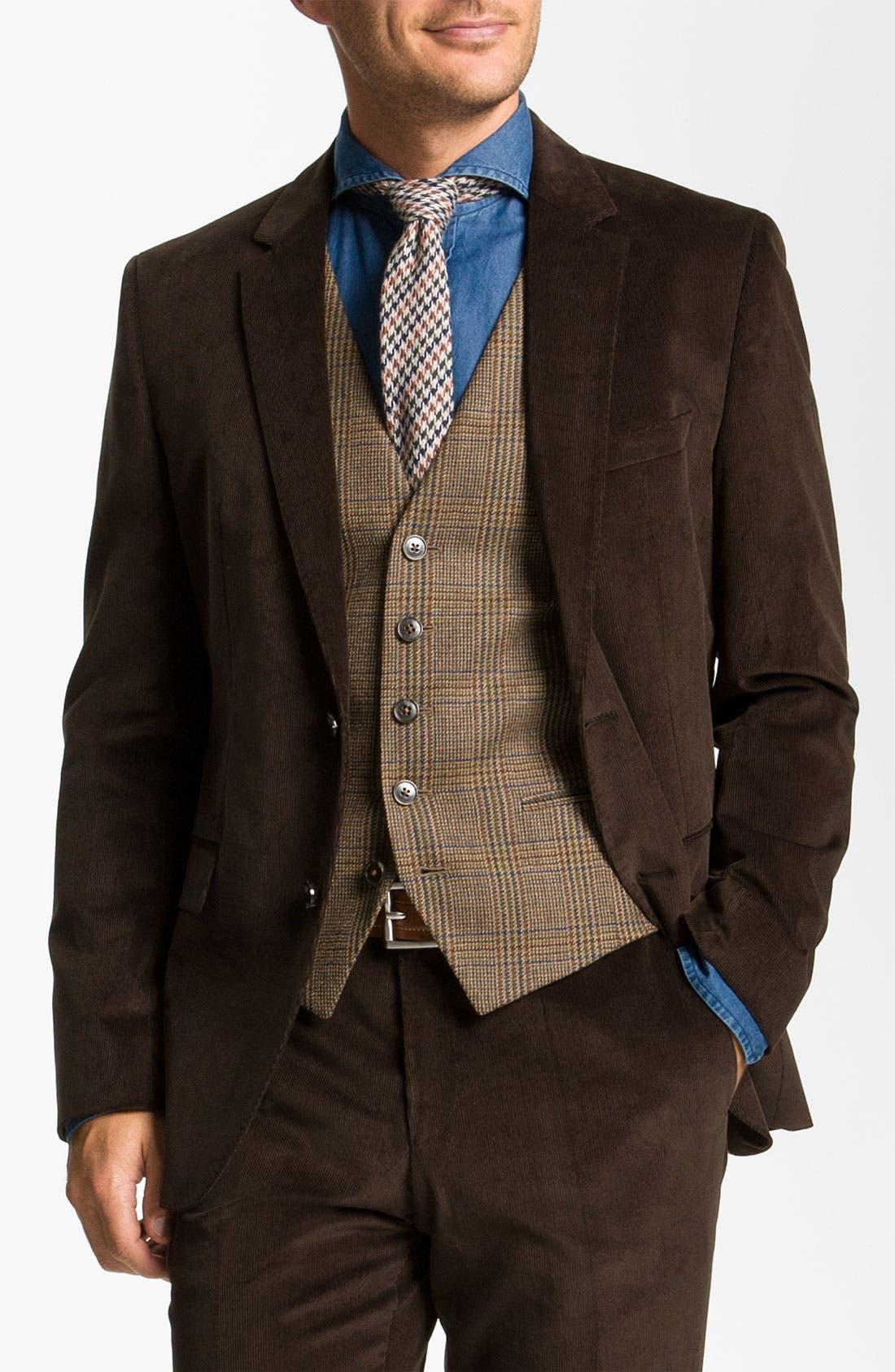 Main Image - BOSS Black 'James/Sharp' Trim Fit Corduroy Suit
