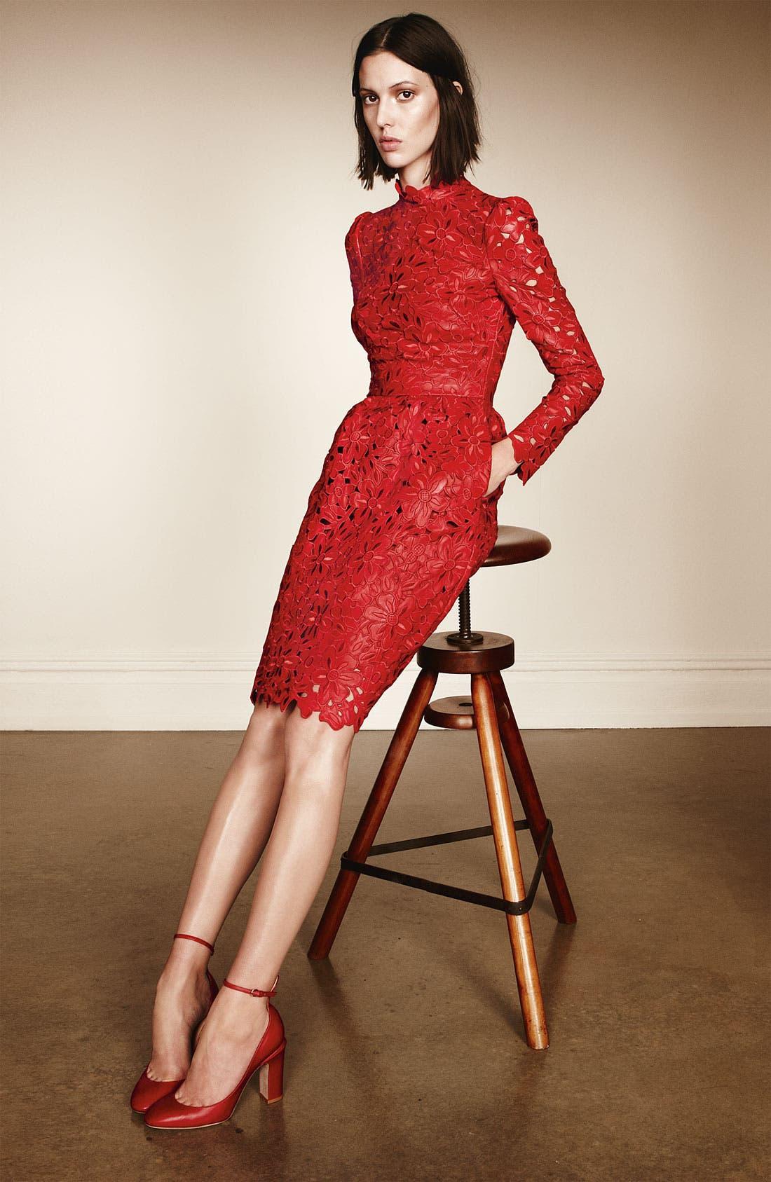 Alternate Image 4  - Valentino Laser Cut Leather Dress