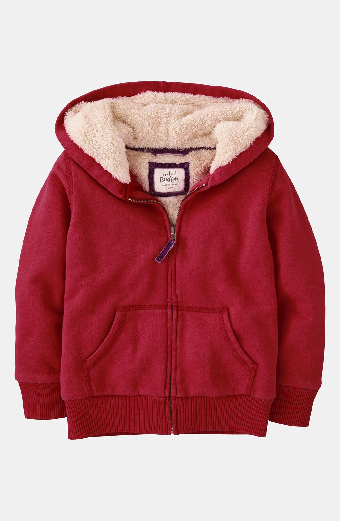 Alternate Image 1 Selected - Mini Boden 'Shaggy' Hoodie (Little Girls & Big Girls)