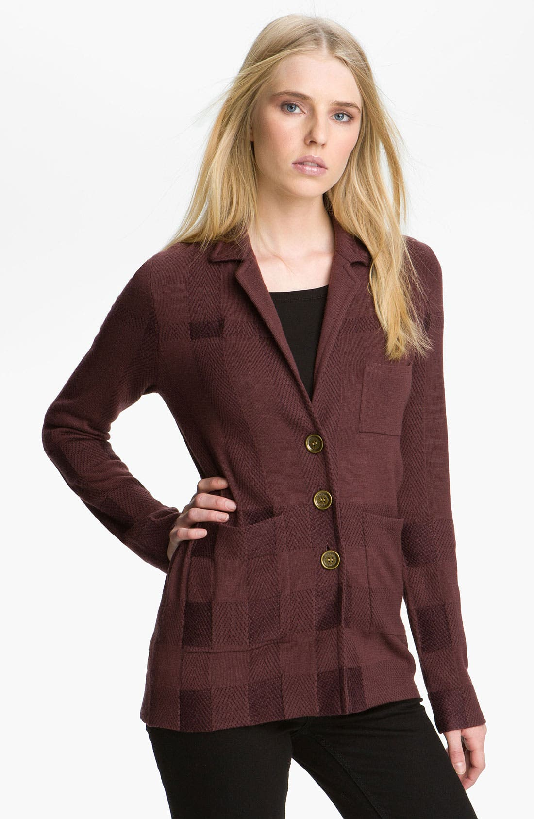 Alternate Image 1 Selected - Burberry Brit Jacquard Check Cardigan (Online Exclusive)