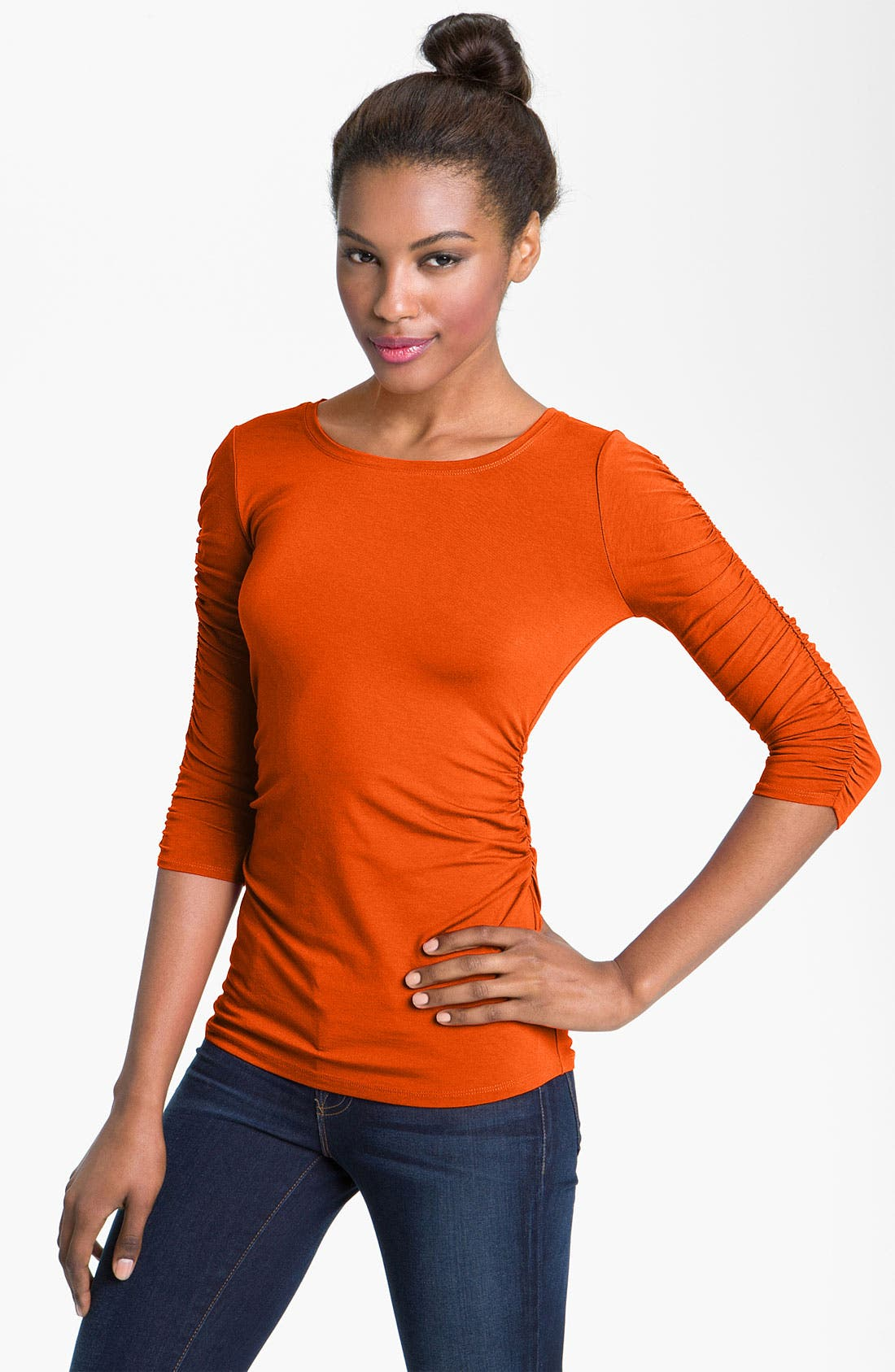 Alternate Image 1 Selected - Vince Camuto Ruched Three Quarter Sleeve Tee