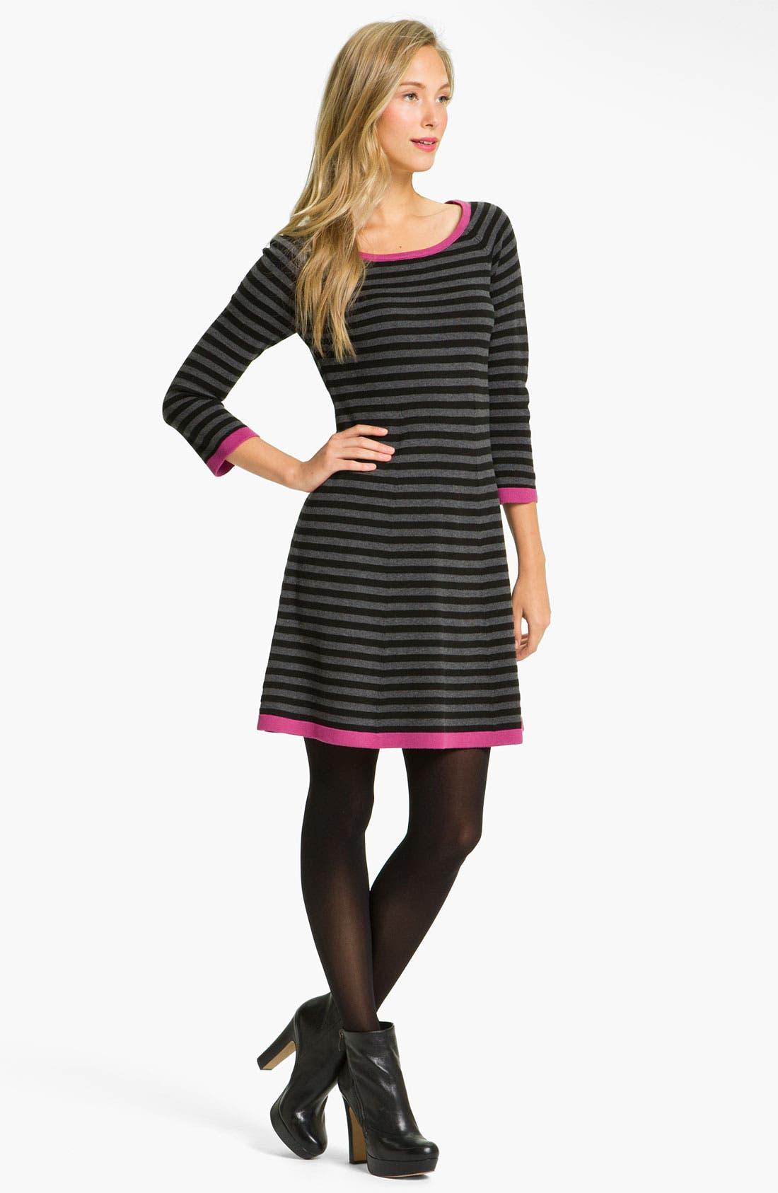 Alternate Image 1 Selected - Eliza J Stripe Contrast Trim Sweater Dress