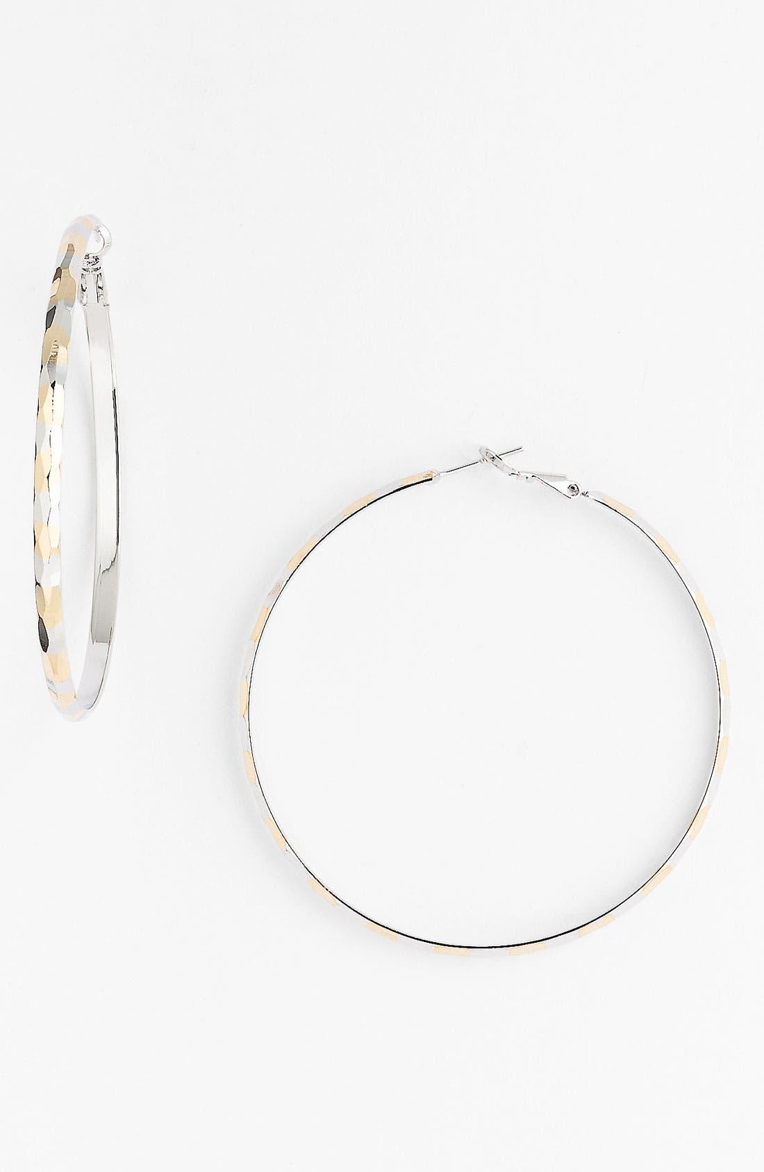 Main Image - Natasha Couture Medium Two Tone Hoop Earrings