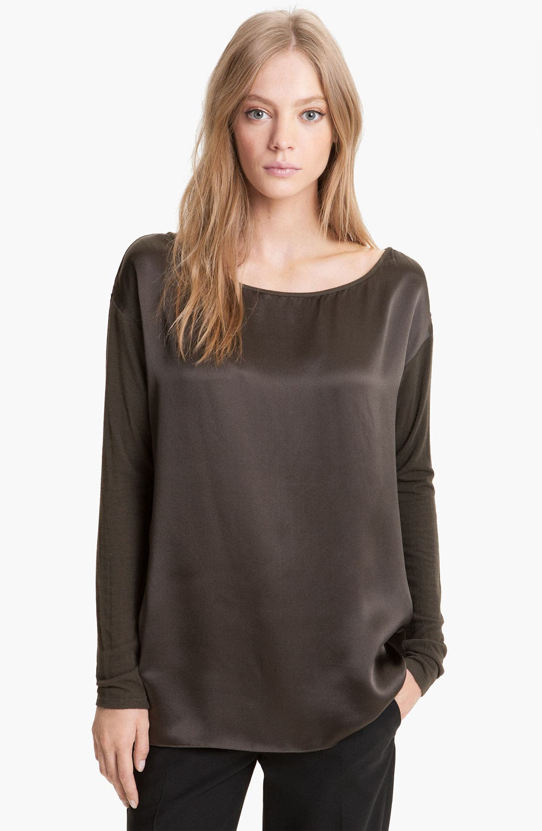 Alternate Image 1 Selected - Vince Knit Sleeve Silk Top