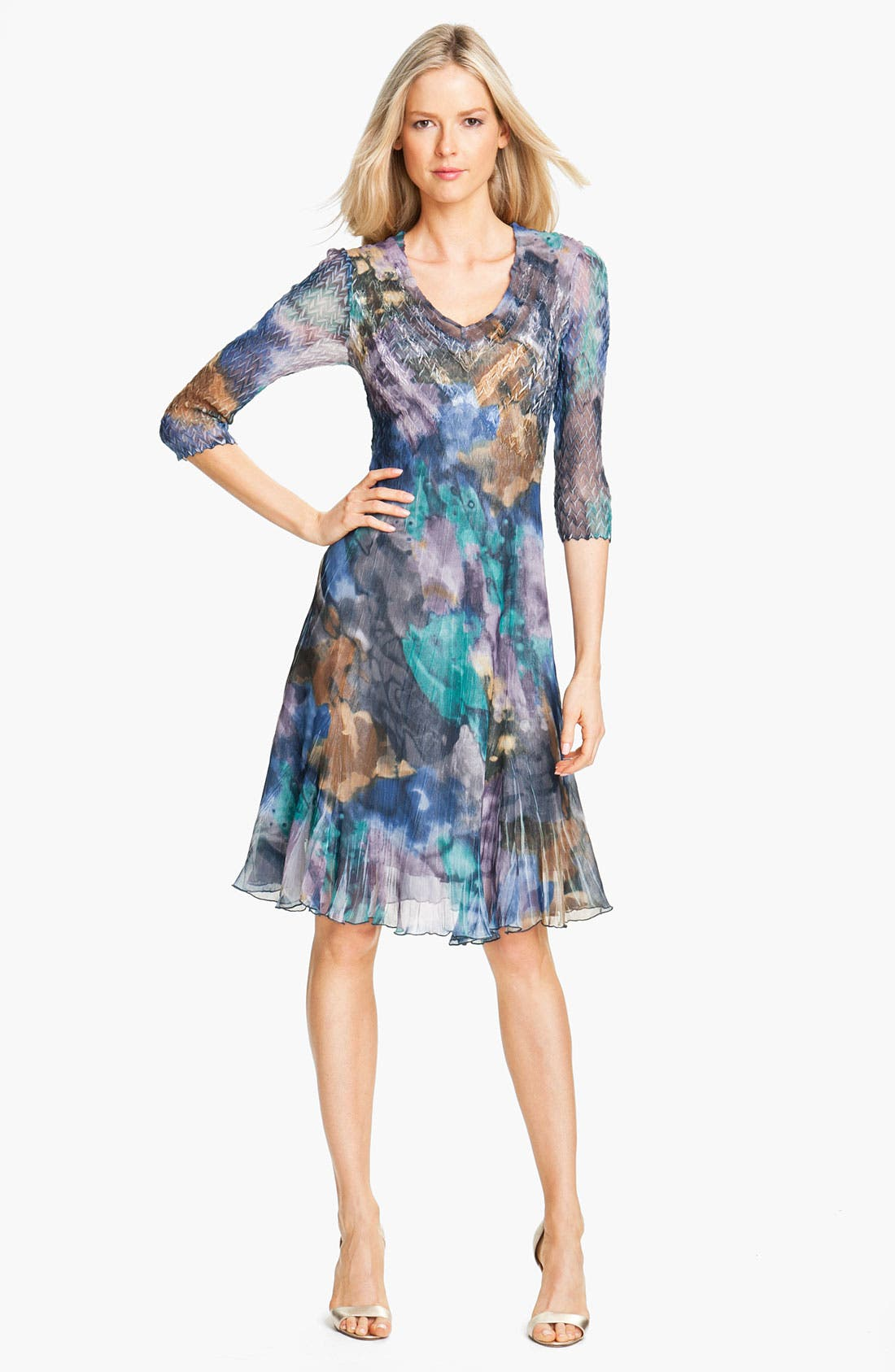 Alternate Image 1 Selected - Komarov Print Elbow Sleeve Chiffon Dress