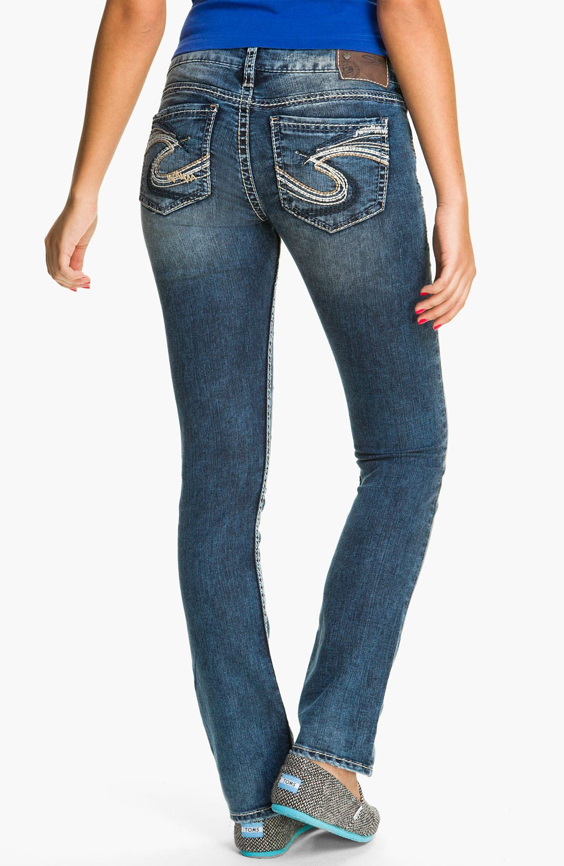 Alternate Image 1 Selected - Silver Jeans Co. 'Berkeley' Straight Leg Jeans (Juniors)