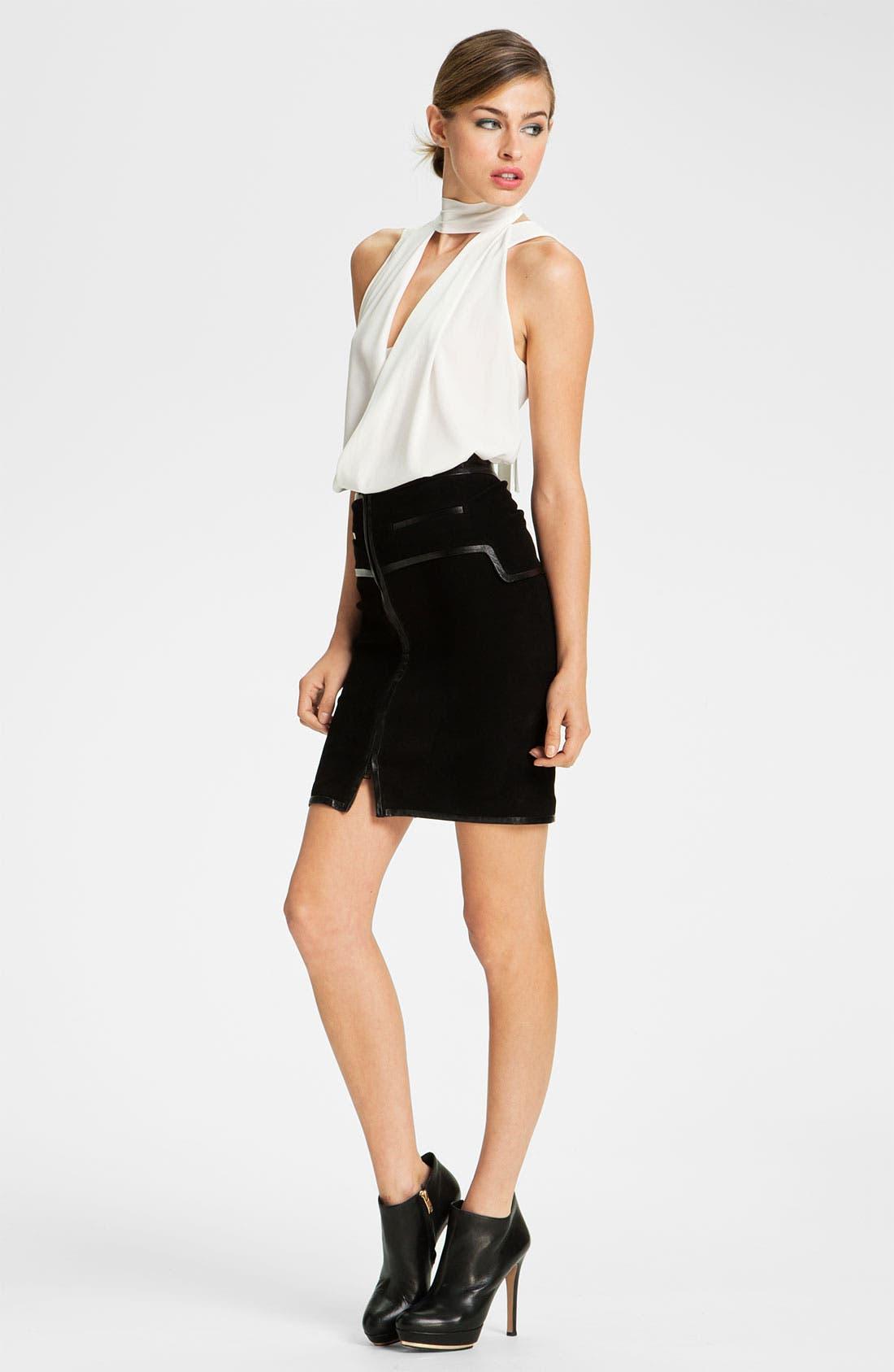 Alternate Image 4  - Robert Rodriguez Leather Framed Suede Skirt