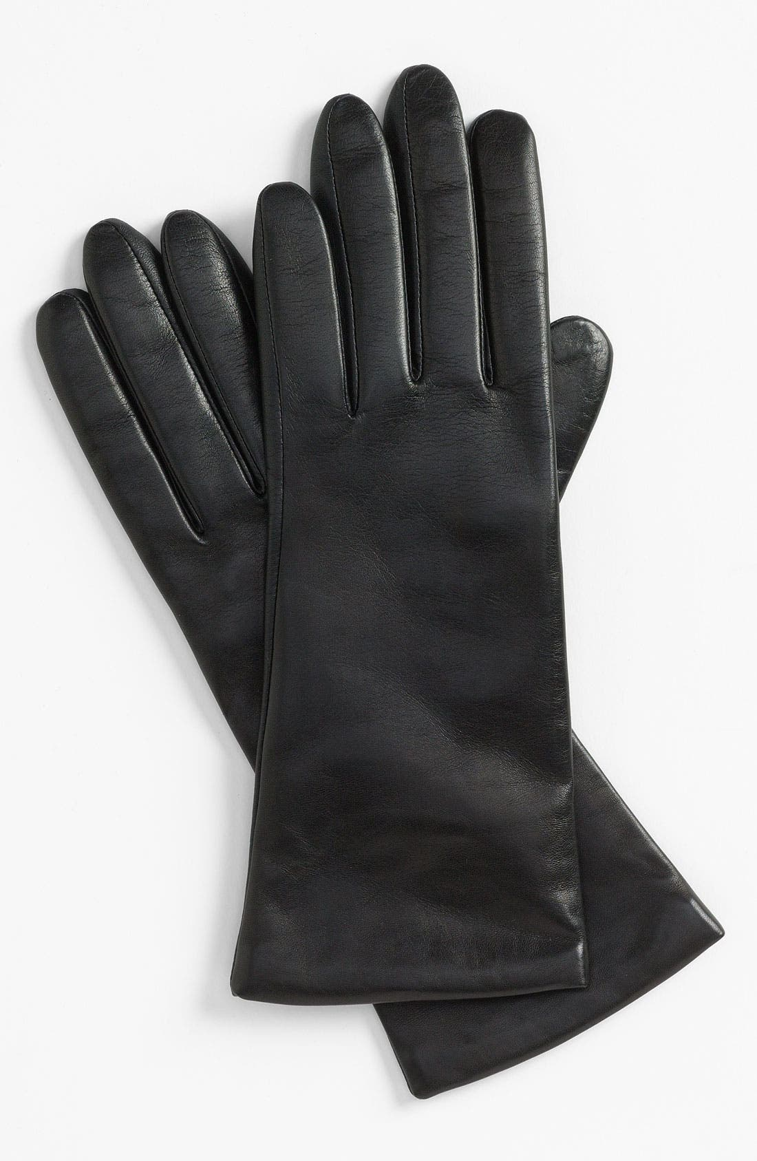 'Basic Tech' Cashmere Lined Leather Gloves,                         Main,                         color, Black