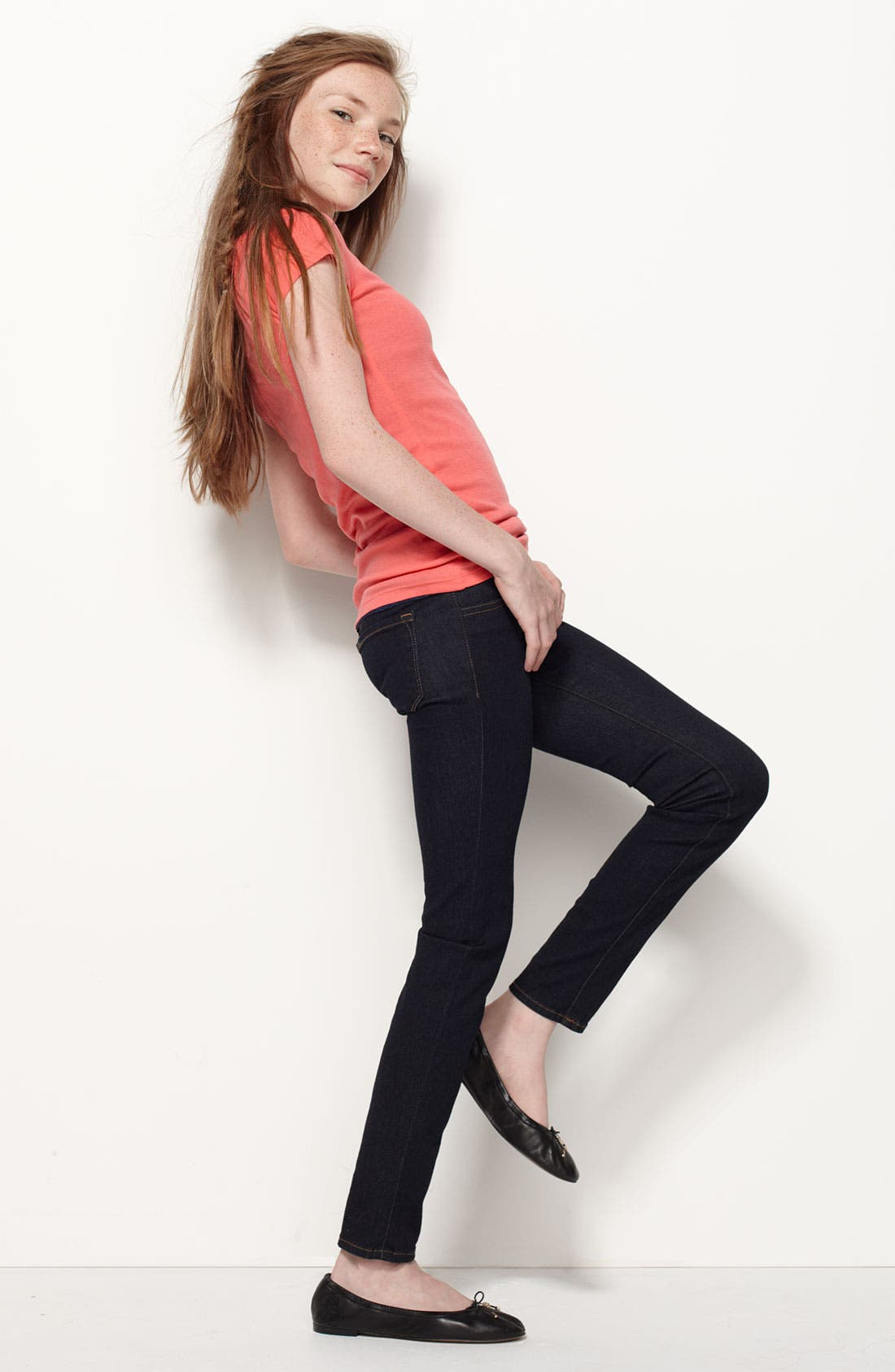 Alternate Image 5  - 7 For All Mankind® Skinny Jeans (Big Girls)