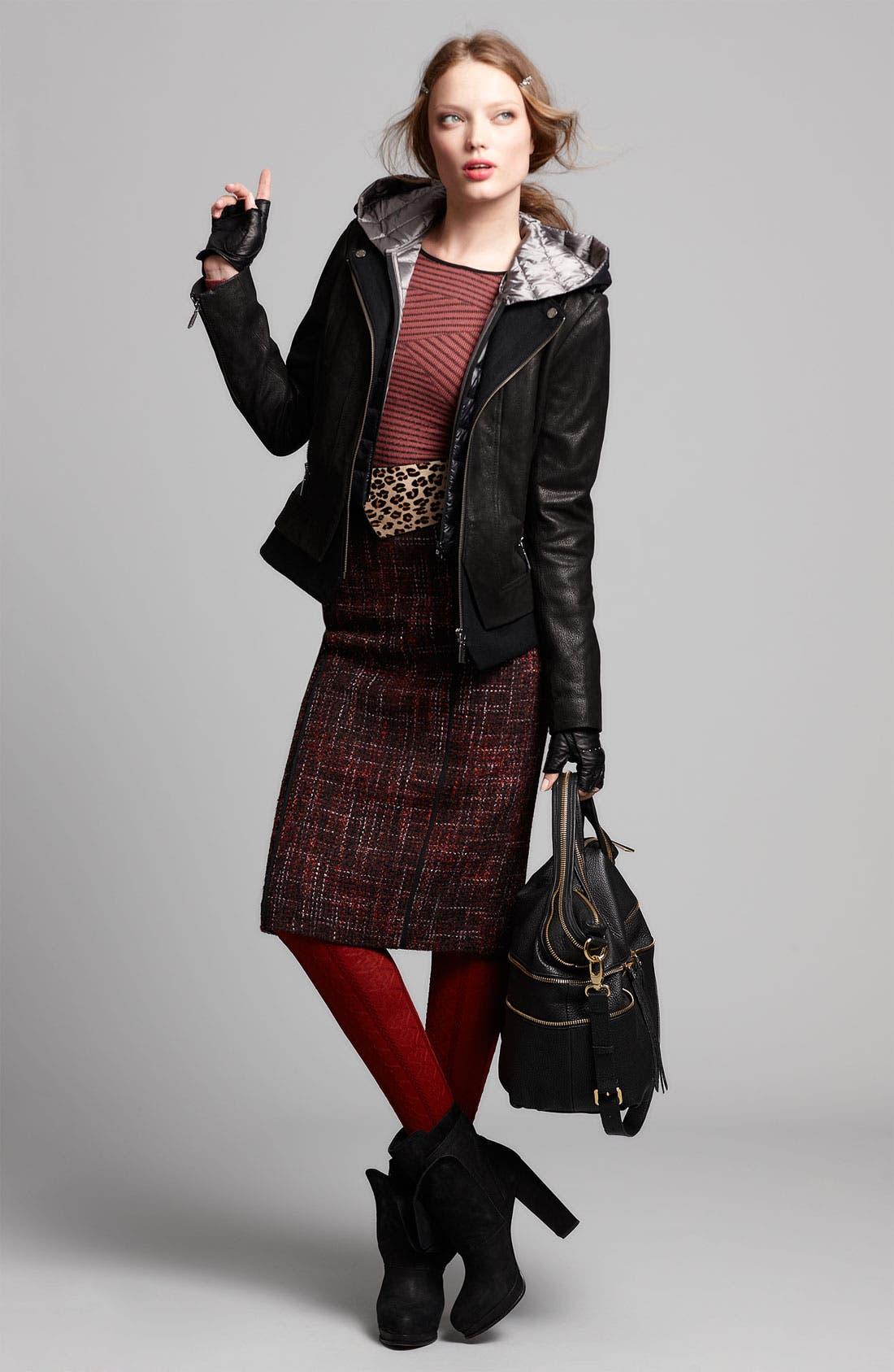 Alternate Image 2  - Bernardo Leather Jacket, Halogen® Sweater & Skirt