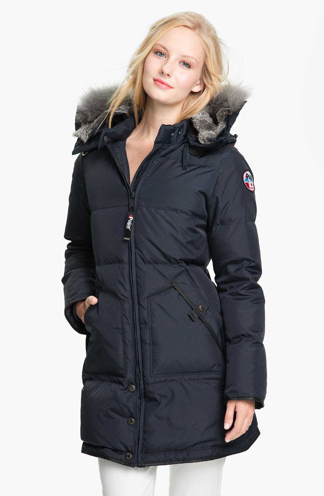 'Cougar' Down Parka with Genuine Coyote & Rabbit Fur,                         Main,                         color, Navy