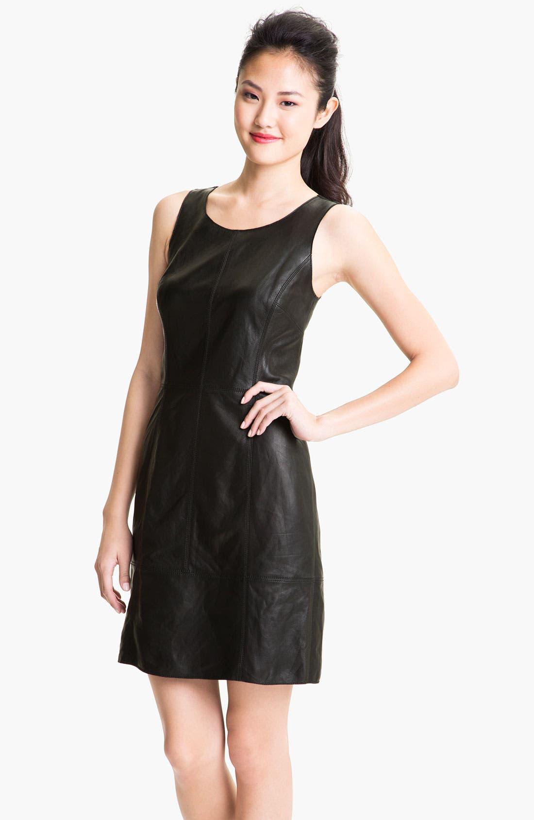 Alternate Image 1 Selected - Halogen® Leather Front Sheath Dress
