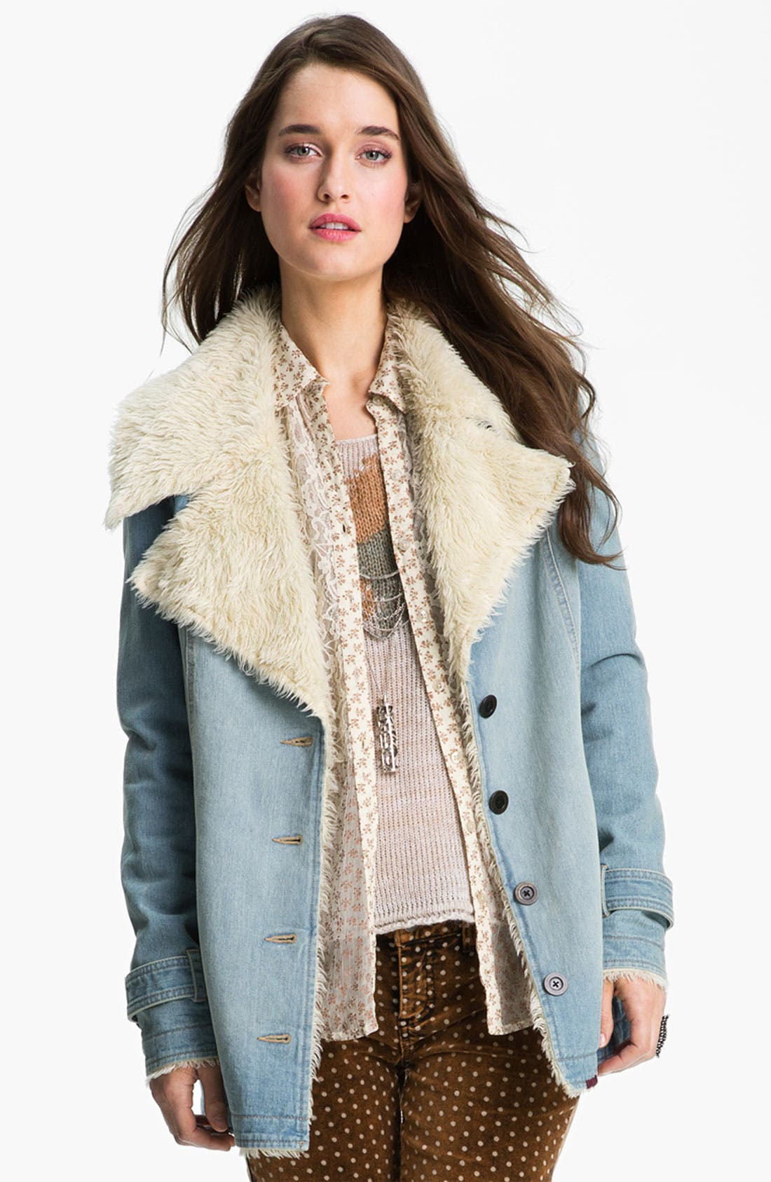 Main Image - Free People Faux Shearling Lined Denim Coat