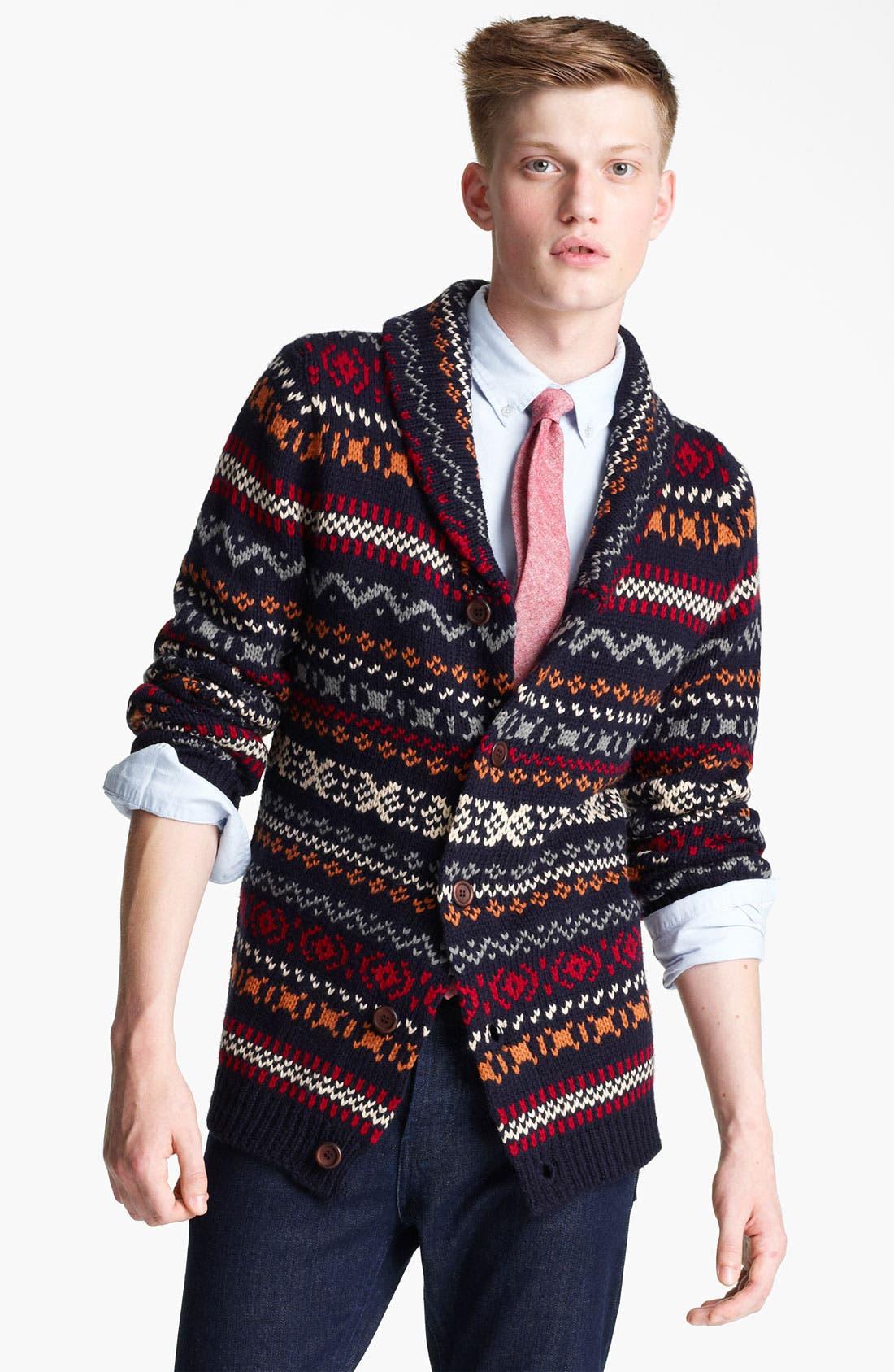 Alternate Image 1 Selected - Topman Fair Isle Shawl Collar Cardigan