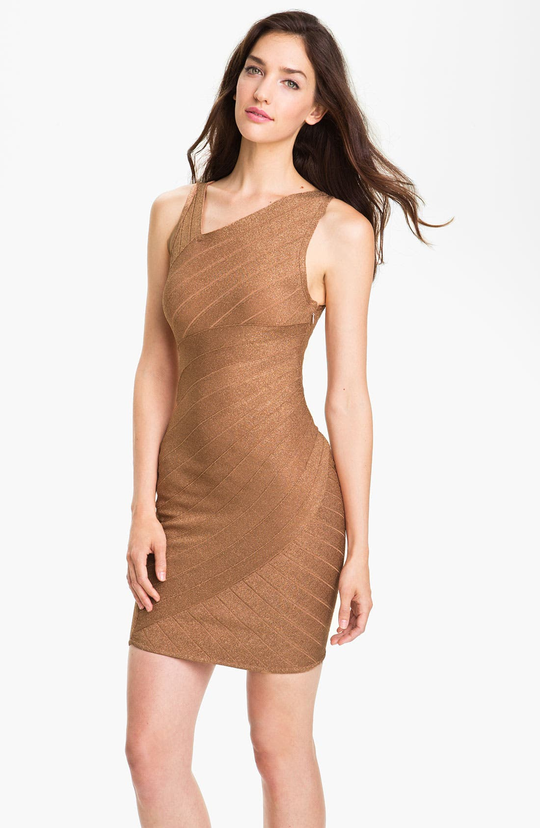 Alternate Image 1 Selected - JS Collections Asymmetrical Metallic Bandage Dress