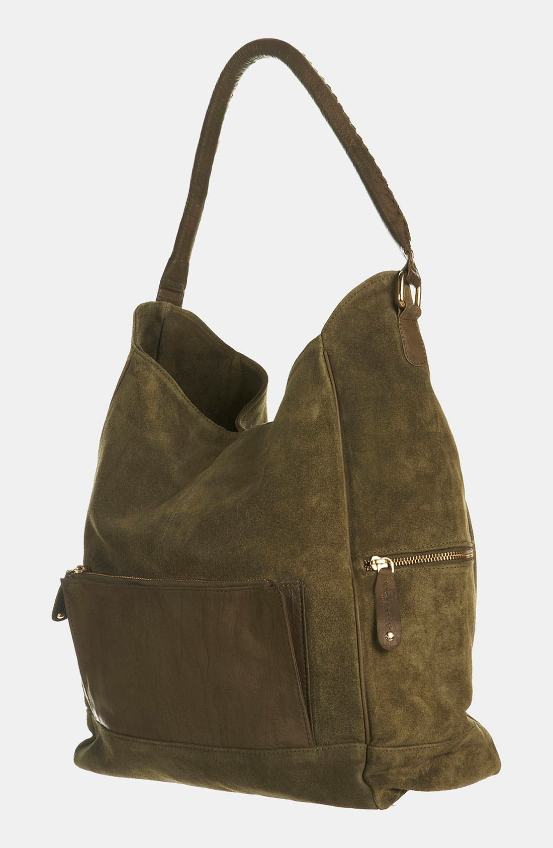 Main Image - Topshop Slouchy Suede & Leather Tote
