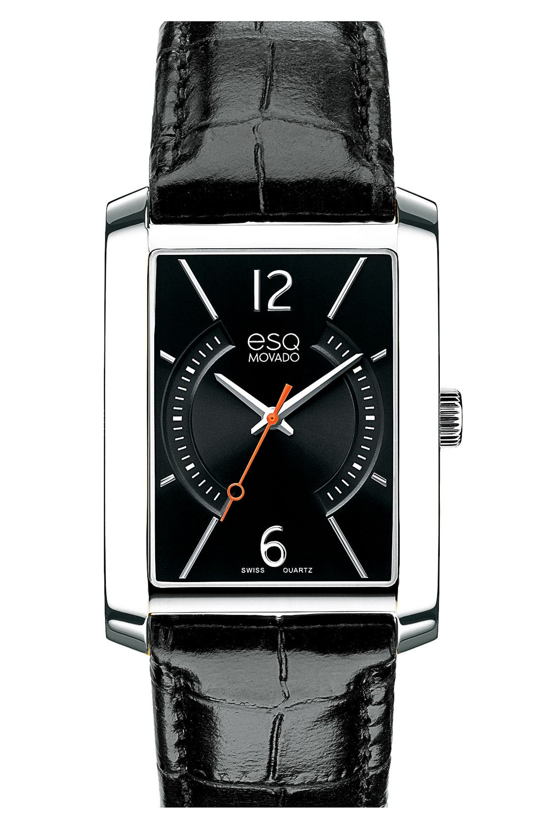 Alternate Image 1 Selected - ESQ Movado 'Synthesis' Rectangular Leather Strap Watch, 32mm x 35mm