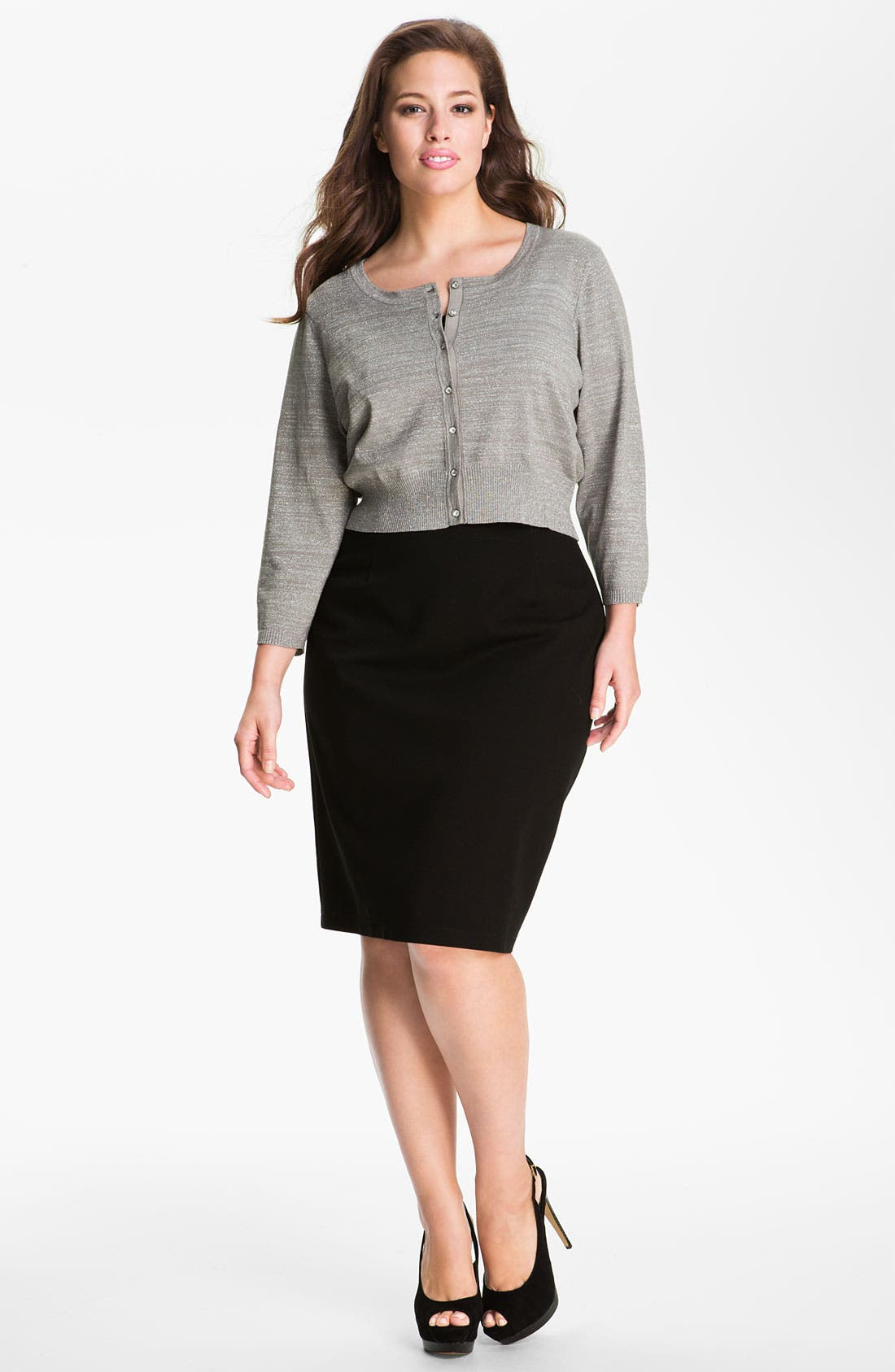 Alternate Image 1 Selected - Donna Ricco Crystal Button Metallic Cardigan (Plus Size)