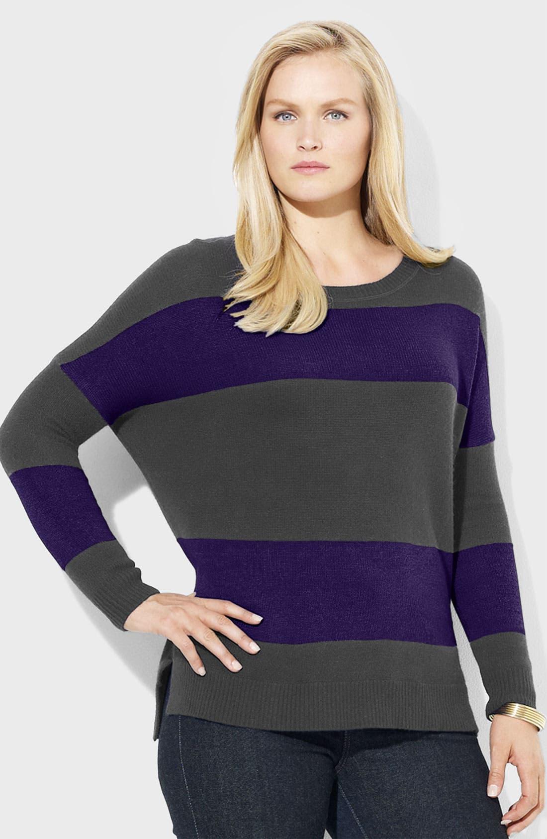 Alternate Image 1 Selected - Lauren Ralph Lauren Stripe Ballet Neck Sweater (Plus)