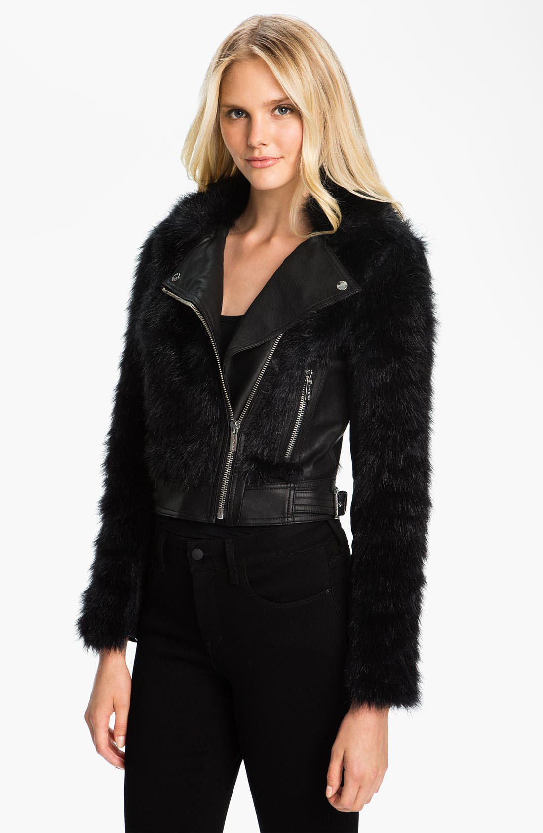 Alternate Image 1 Selected - MICHAEL Michael Kors Faux Fur & Faux Leather Jacket