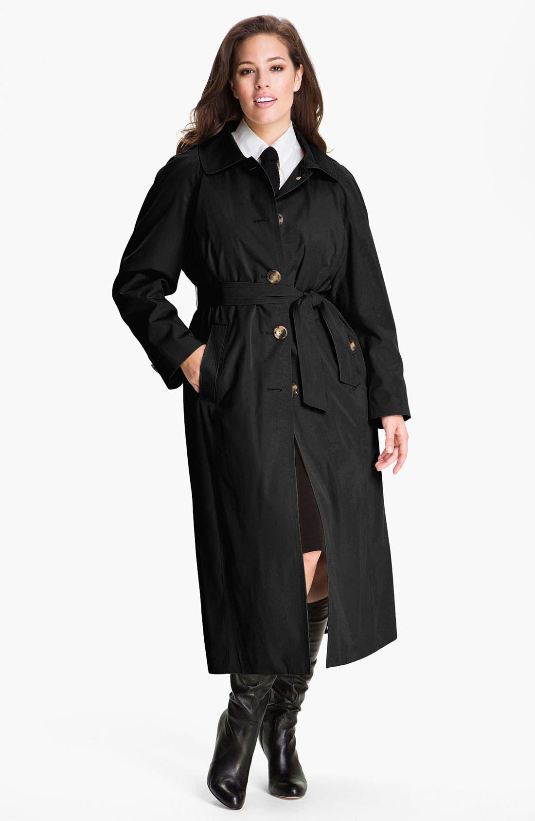 Main Image - London Fog Raglan Sleeve Raincoat with Detachable Liner (Plus) (Online Exclusive)