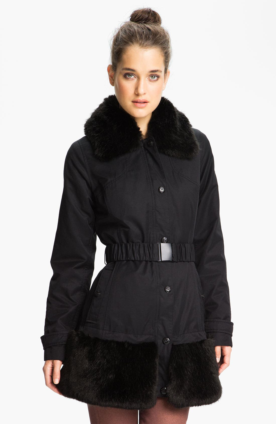 Main Image - Laundry by Shelli Segal Belted Coat with Detachable Faux Fur
