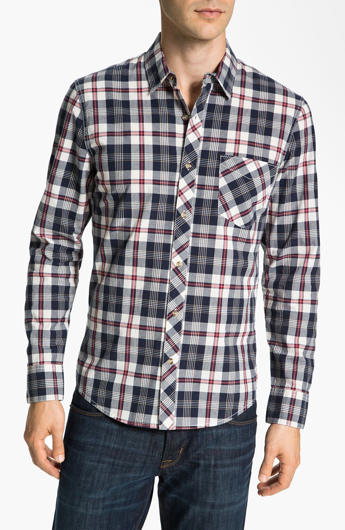 Main Image - 1901 Plaid Cotton Poplin Shirt
