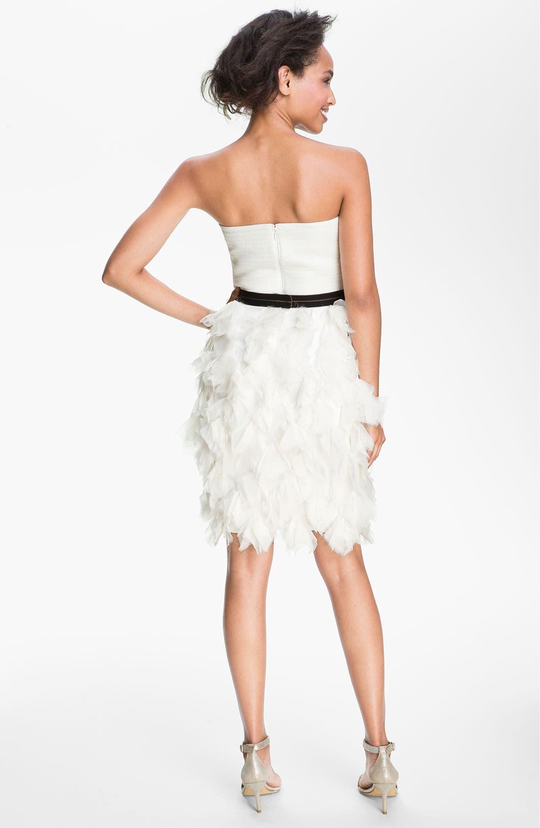 Alternate Image 2  - Tadashi Shoji Strapless Ruffle Skirt Silk Chiffon Dress