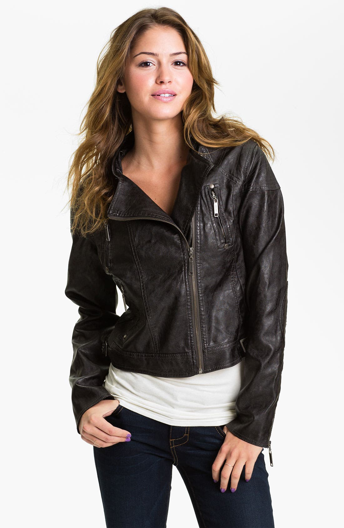 Alternate Image 1 Selected - Jou Jou Weathered Faux Leather Quilted Moto Jacket (Juniors)