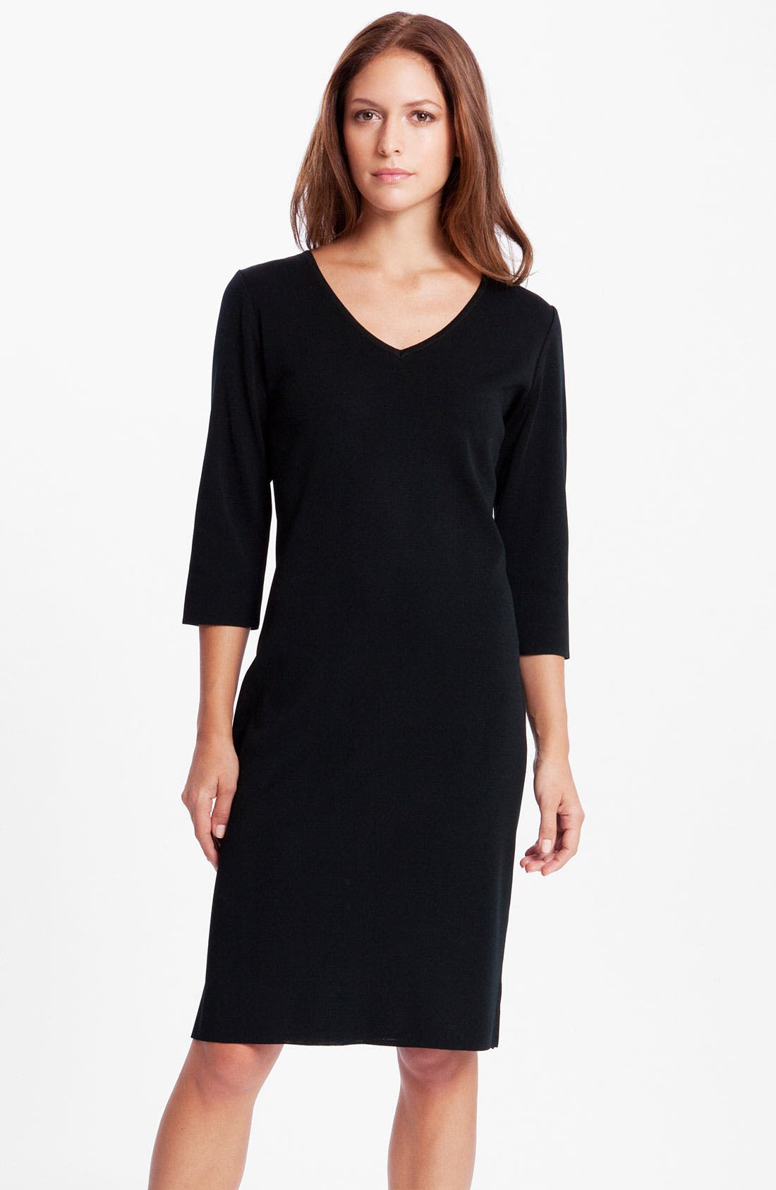 V-Neck Dress,                             Main thumbnail 1, color,                             Black