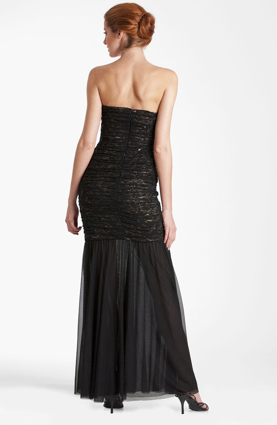 Alternate Image 2  - JS Collections Shirred Lace & Mesh Trumpet Gown