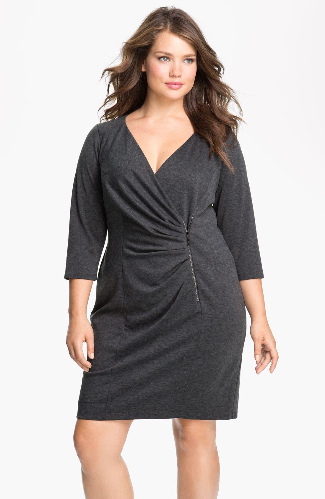 Main Image - Jessica Simpson Zipper Detail Ponte Knit Sheath Dress (Plus)