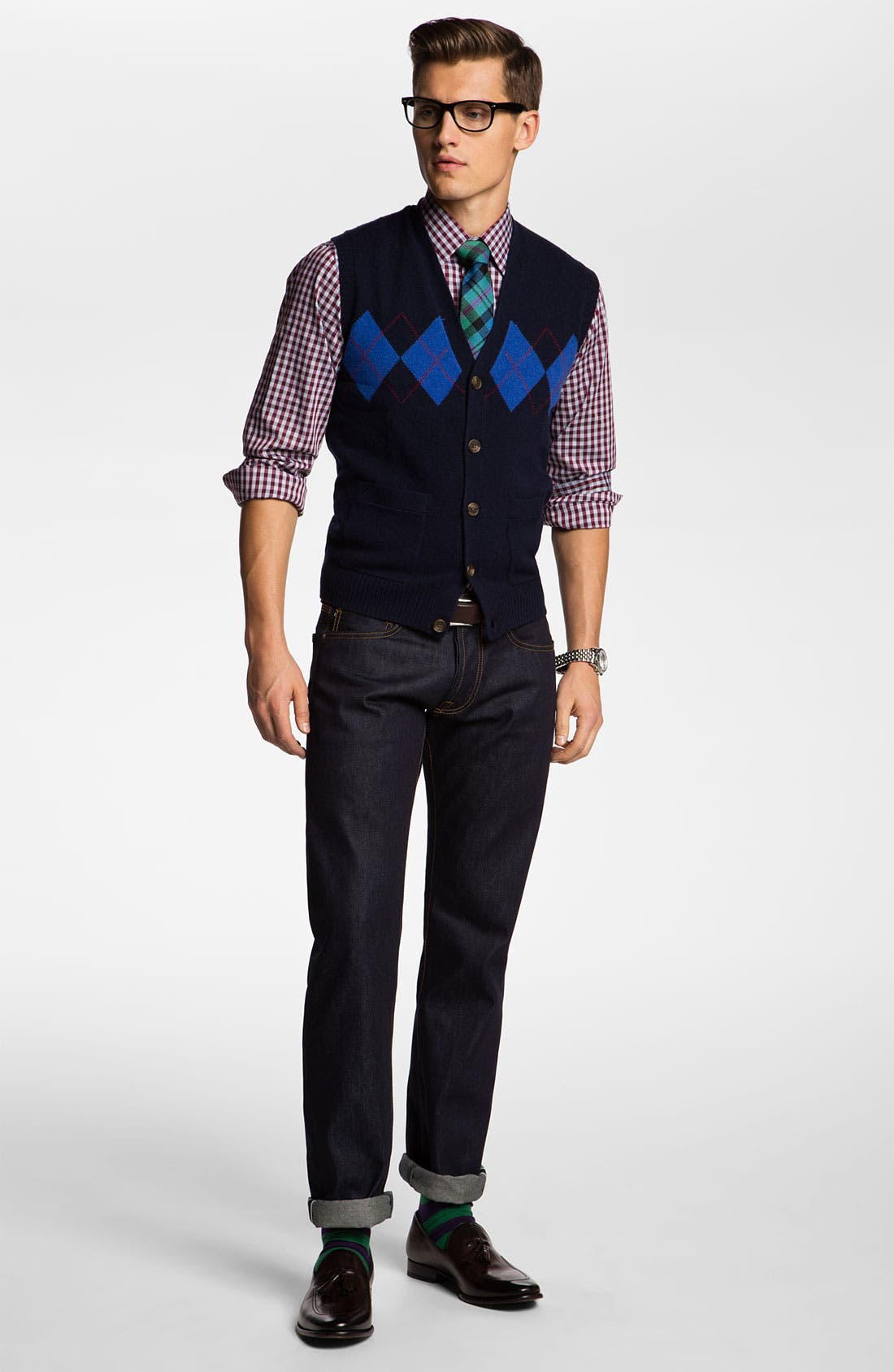 Alternate Image 4  - Brooks Brothers Lambswool Cardigan Vest