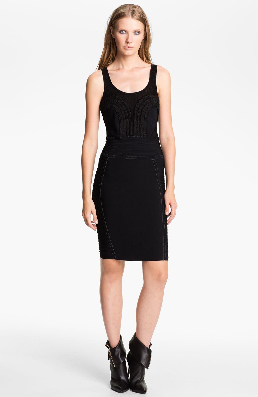 Alternate Image 1 Selected - Cut25 Chiffon Appliqué Techno Knit Dress