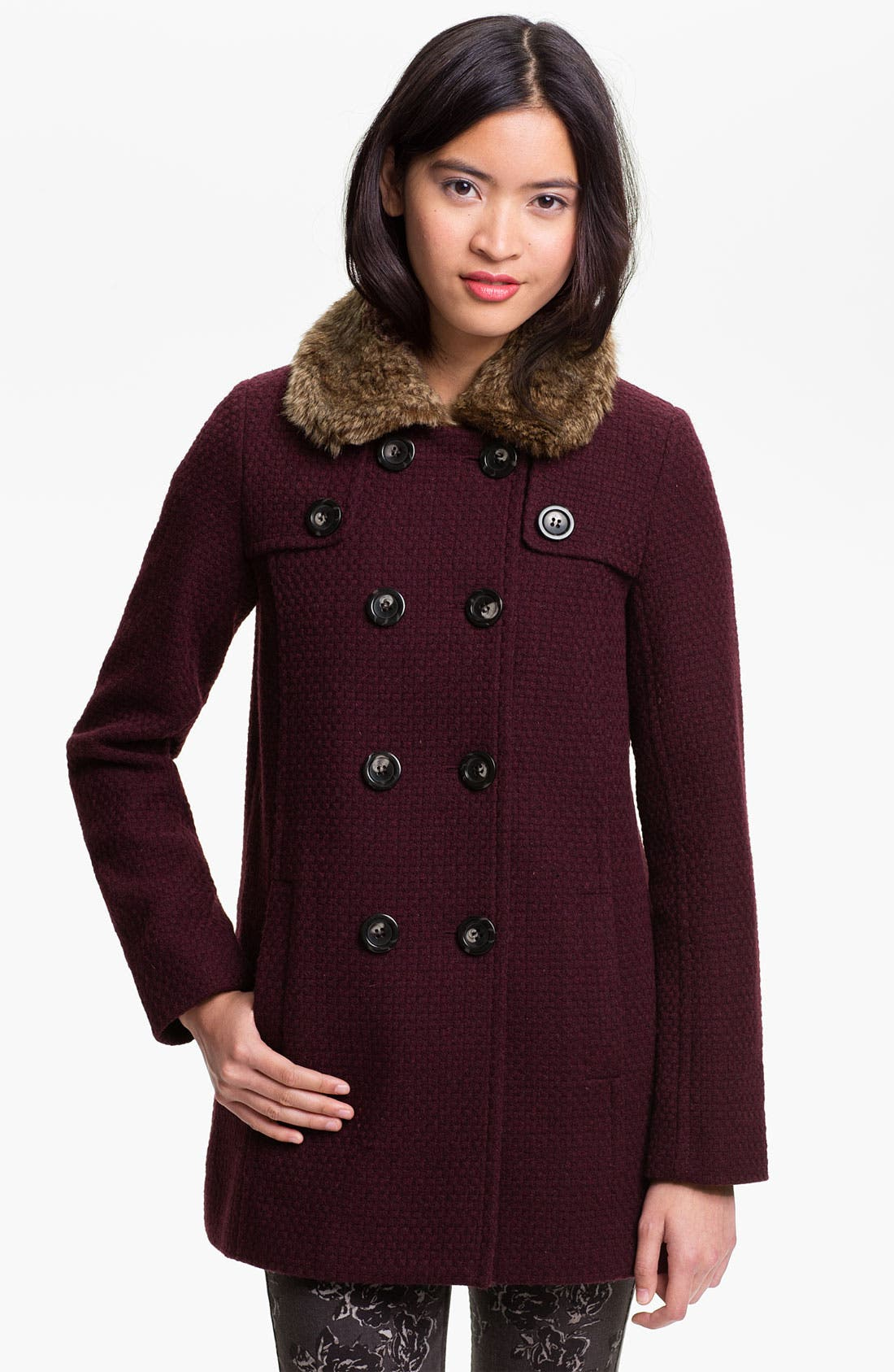 Main Image - BP. Faux Fur Collar Coat (Juniors)