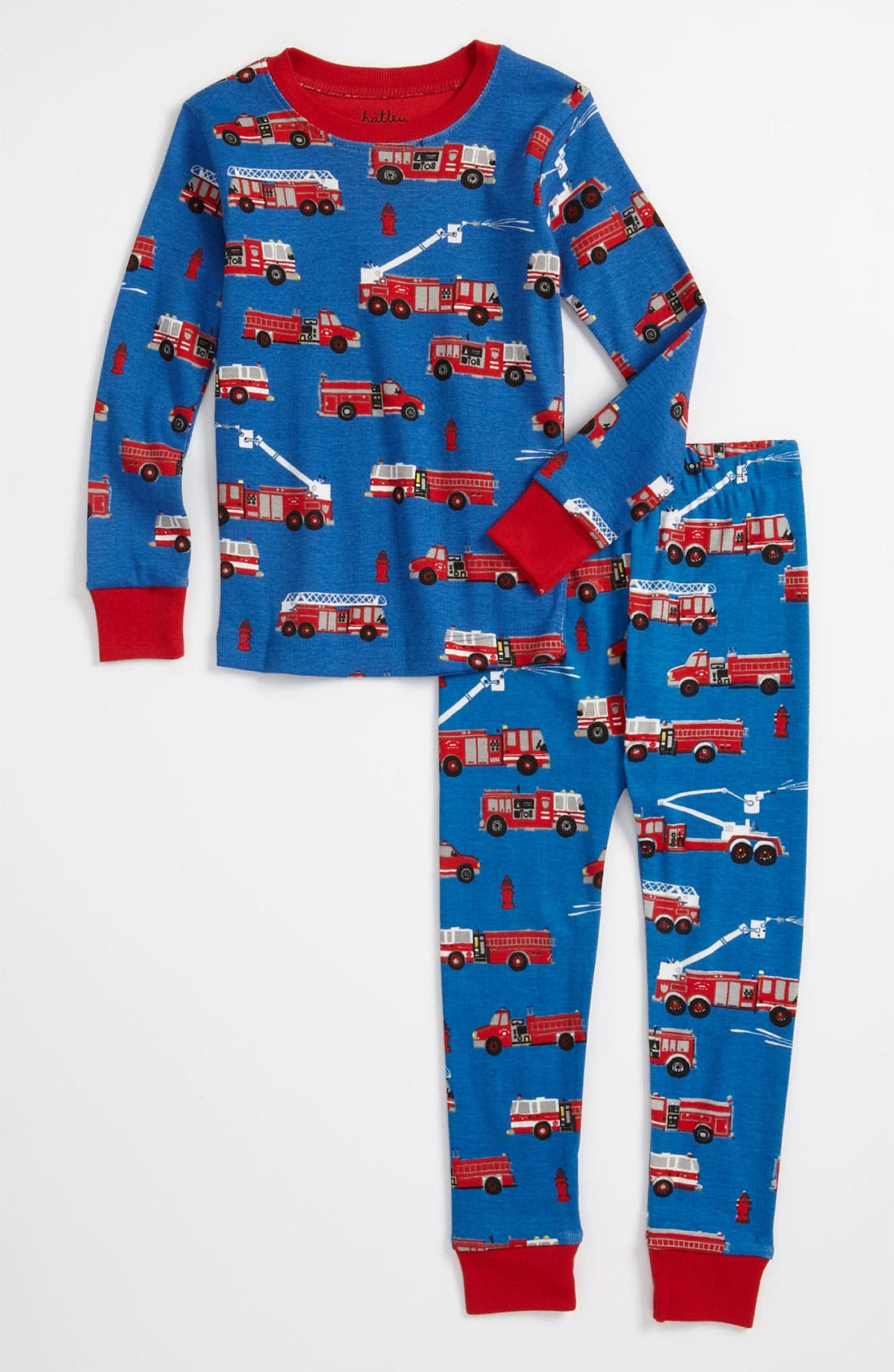Main Image - Hatley 'Fire Truck' Fitted Two Piece Pajamas (Toddler)