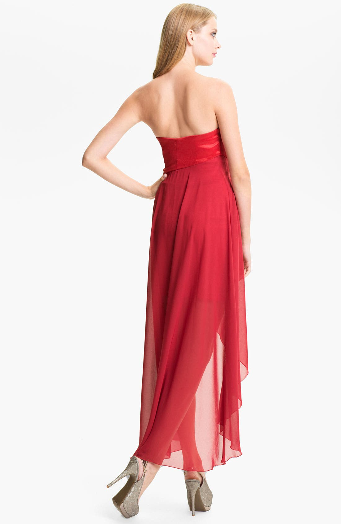 Alternate Image 2  - Jessica McClintock Strapless Taffeta & Chiffon High/Low Dress
