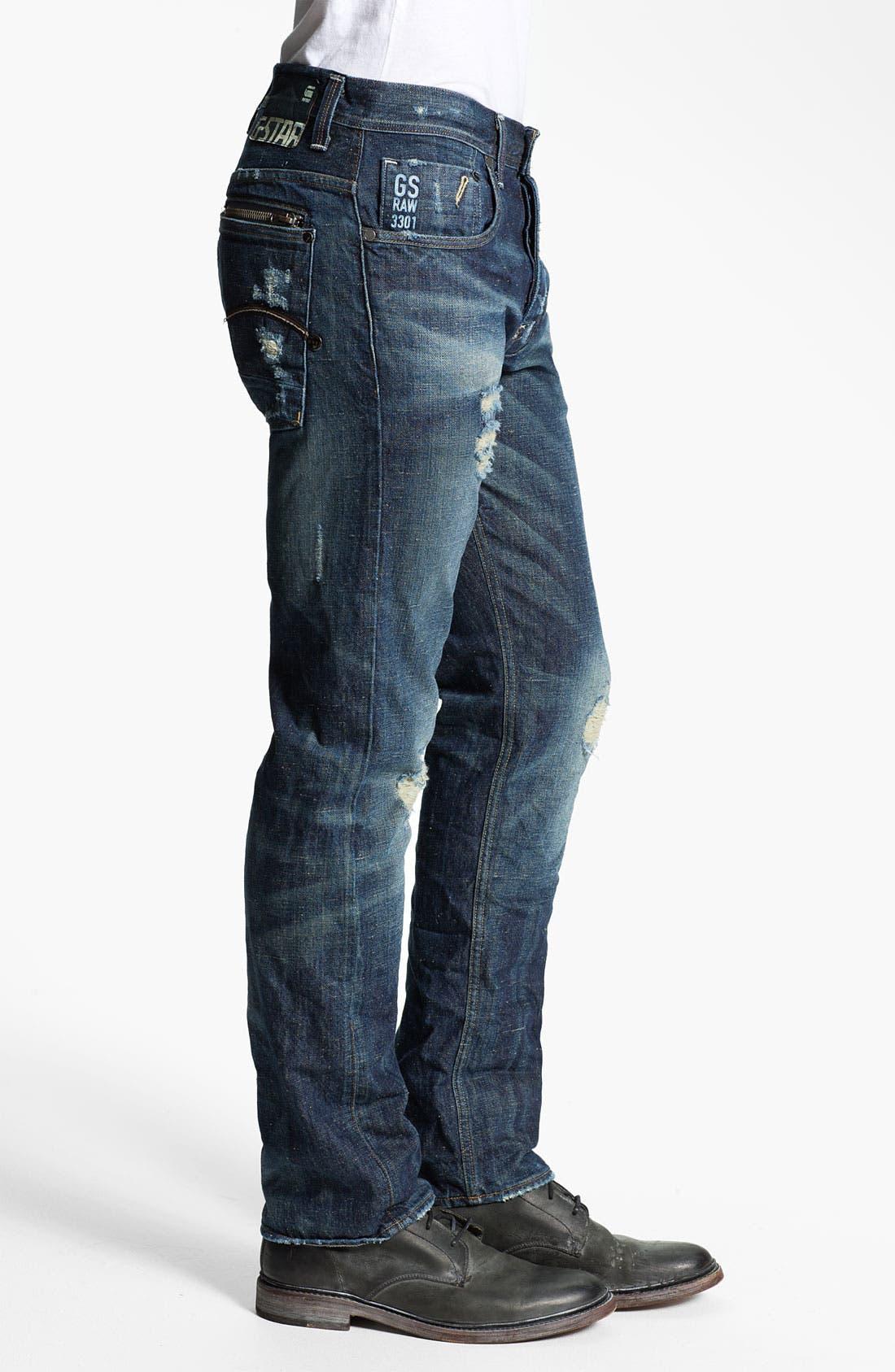 Alternate Image 4  - G-Star Raw 'Attacc' Straight Leg Jeans (Medium Destroy)