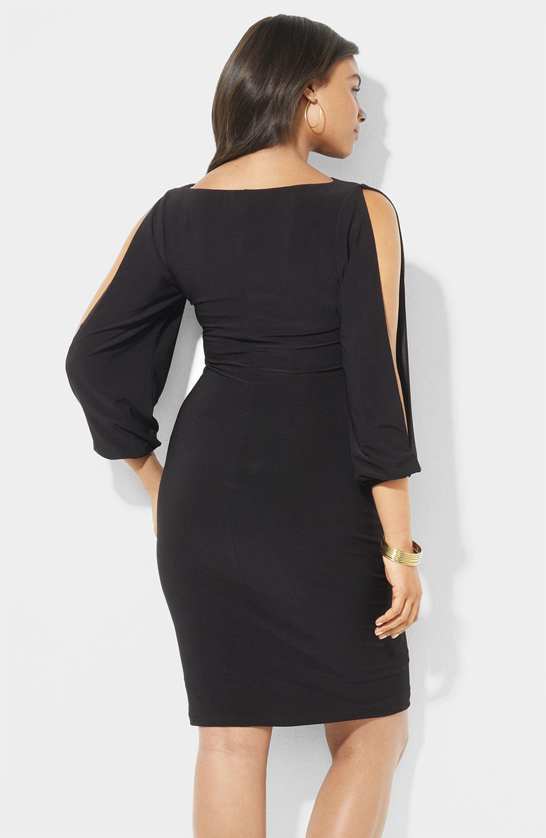 Alternate Image 2  - Lauren Ralph Lauren Open Sleeve Matte Jersey Sheath Dress (Plus)