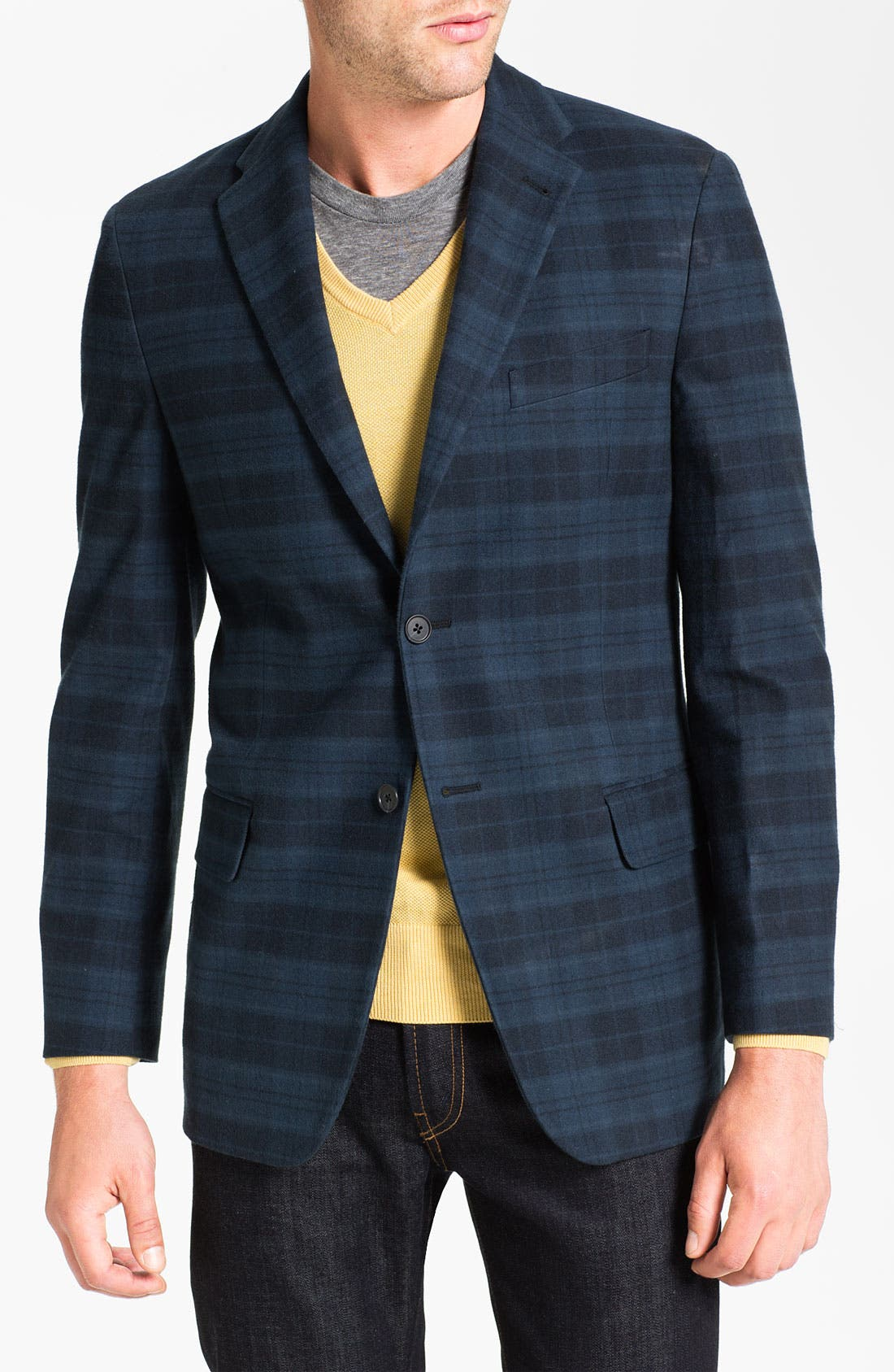 Alternate Image 1 Selected - Joseph Abboud Plaid Cotton Sportcoat