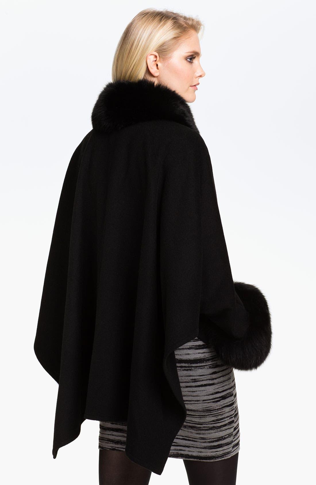 Alternate Image 2  - Alberto Makali Fox Fur Trim Wool Cape
