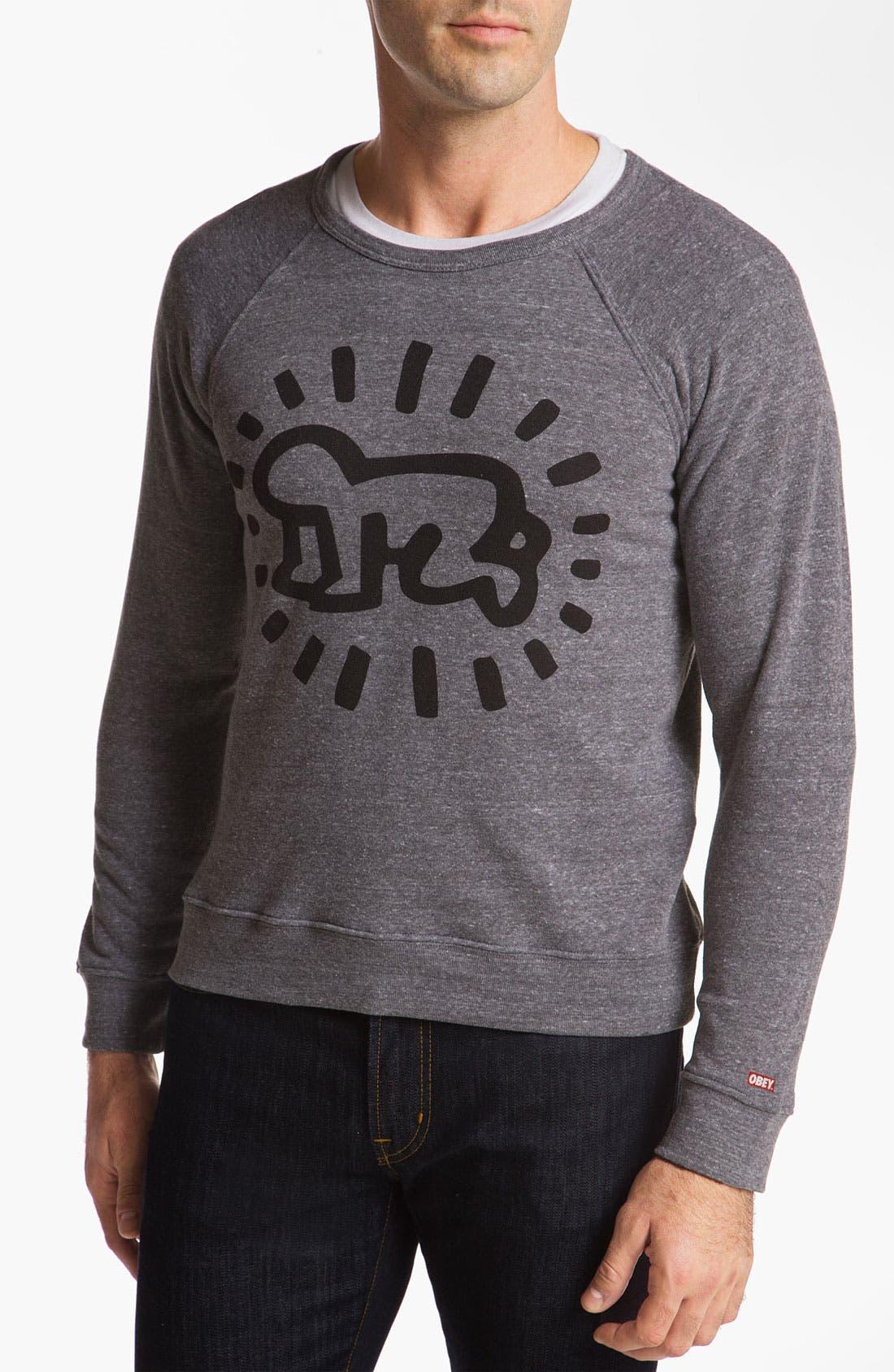 Main Image - Obey 'Keith Haring Baby' Crewneck Sweatshirt